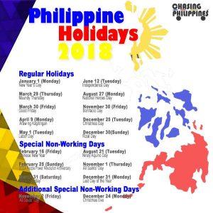 Lịch nghỉ lễ tại Philippines năm 2018