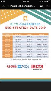 Lịch nhập học khóa IELTS đảm bảo trường Pines
