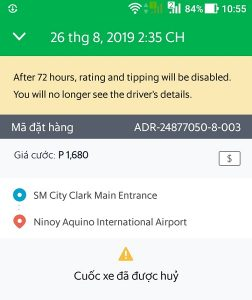 Giá Grab Taxi từ SM City Clark tới Manila Airport
