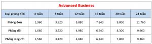 Học phí trường Philinter - Khóa Advanced Business