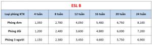 Học phí trường E-Room - Khóa ESL B