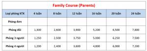 Học phí trường CG - Khóa Family (Parents)