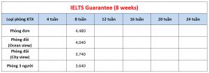 Học phí trường Cebu Blue Ocean - Khóa IELTS Guarantee 8 tuần