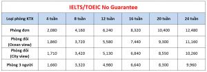 Học phí trường Cebu Blue Ocean - Khóa IELTS/TOEIC No Guarantee