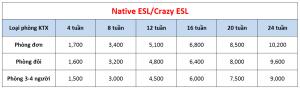 Học phí trường A&J - Khóa Native ESL