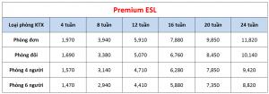 Học phí trường Pines - Khóa Premium ESL